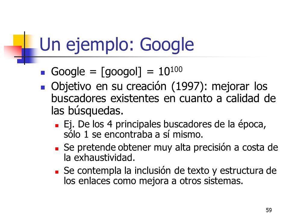 Un ejemplo: Google Google = [googol] = 10100